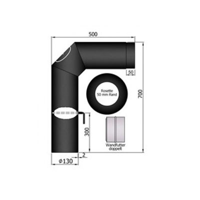 Rauchrohrset, Ø130/150mm, 2x45°, Rosette, Wandfutter, Drosselklappe_1