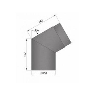 Rauchrohrbogen, Ø150mm, 60°