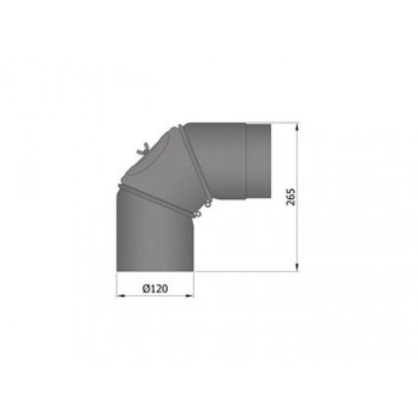 Rauchrohrbogen, verstellbar, 3-teilig, Ø120/130/150/180mm, 0-90°_1