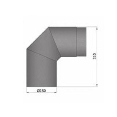 Rauchrohrbogen, Ø120/130/150mm, 2x45°_Maße1