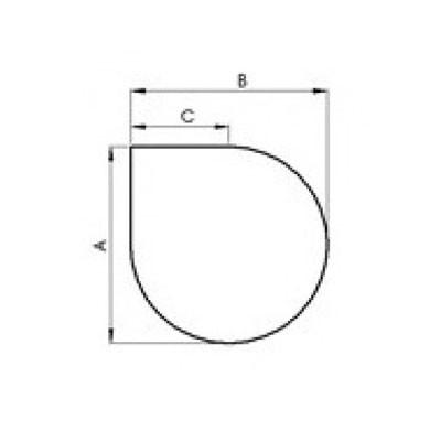 Glasbodenplatte Tropfenform 6mm mit Facettenschliff